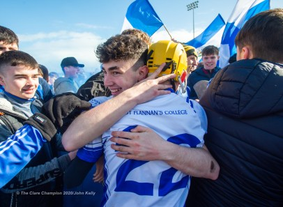 St Flannan's Ashley Brohan and Ryan Power celebrate on the final whistle during their Harty Cup final against CBC Cork at Mallow. Photograph by John Kelly