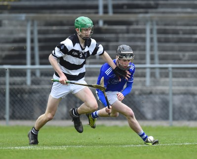 Diarmuid Cahill of St Flannan's in action against Peter Mc Donald of St. Kieran's College Kilkenny during their Croke Cup quarter final at Mallow. Photograph by John Kelly
