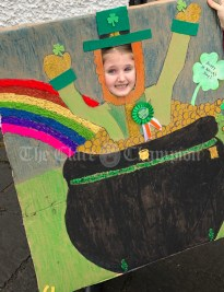 Sophie who worked really hard on her leprechaun prop for today