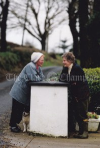 Time for a chat.... Frances Grogan, Cooraclare, stops for a chat with Kay Breen while out for a walk with her dog 'Benji'. Photograph by John Kelly