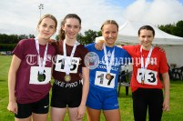 Winners of the Girls U14 80m hurldles: (l-r) 2nd Lucy Shannon (Doora Barefield), 1st Evie Quinn (Tulla), 3rd Saoirse Kent (Inch-Kilmaley-Connolly) and 4th Sarah Slattery (Quin-Clooney). Photography by Eugene McCafferty