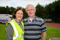 Competition official Ita Hanrahan from Doora Barefield with Michael Lillis (Kilmihil), secretary of the Munster Cross Country Association and first chairman of the Clare Athletics board. Photography by Eugene McCafferty