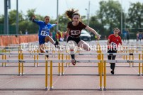Evie Quinn from Tulla showing great technique to win the Girls U14 80m Hurdles event at Clare Community Games Athletics Finals 2021. Photography by Eugene McCafferty