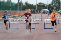 Olivia Shannon from Doora-Barefield sprints to the line to win the Girls U10 60m hurdles event ahead of Thea Harvey (Cooraclare-Cree) and Laura McCormack (Newmarket-on-Fergus). Photography by Eugene McCafferty