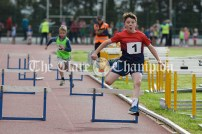 Adam Rochford from Ennis-St-Johns crosses the final hurdle to win the Boys U10 60m event at Clare Community Games Athletics Finals. Photography by Eugene McCafferty