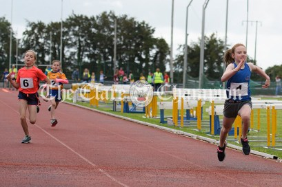 Ava O'Boyle of Ennis-St-Johns powers her way to victory in the Girls U10 100m event. Photography by Eugene McCafferty