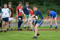 Sean O'Brien from Broadford-Kilbane-Kilmore competing in the Boys U12 Long Puck event. Photography by Eugene McCafferty