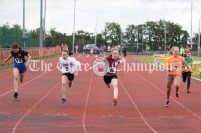 The Girls U14 100m ended in a very close finish with Allisha Ryan (Doonbeg), Lauren Shannon (Doora-Barefield) and Aoibhe O'Leary (Newmarket on Fergus), needing a judges decision. Photography by Eugene McCafferty