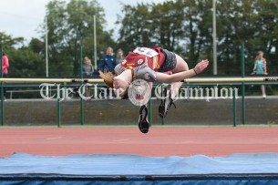 Lisa Nicholas from Tulla competing in the Girls U16 High Jump event. Photography by Eugene McCafferty