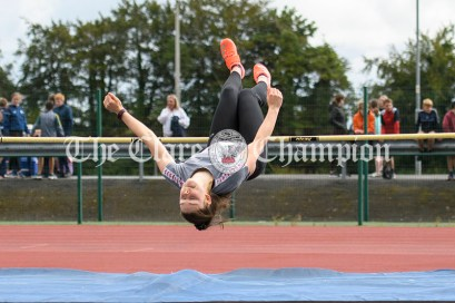 Ava Rochford from Ennis-St-Johns competing in the Girls U16 High Jump event. Photography by Eugene McCafferty