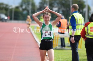 Gemma Galvin from Kilrush celebrates her victory in the Girls U16 1500m event. Gemma is currently is All Ireland champion and captain of Clare Community Games. Photography by Eugene McCafferty