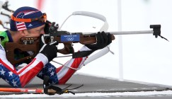 2/16/10 12:51:31 PM -- Whistler, BC, -- Vancouver 2010 Olympics - Biathlon - men's 12.5k pursuit - USA's Jeremy Teela of Anchorage, Alaska fires his rifle while competing in the men's 12.5 k pursuit biathlon Tuesday, February, 16, 2010 at Whistler Olympic Park in Whistler, BC. (Gannett/USA TODAY photo by Christopher Gannon, The Des Moines Register)