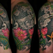 Buddha and lotus life cycle half sleeve tattoo