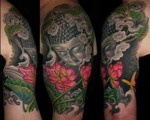 Buddha and lotus life cycle half sleeve tattoo