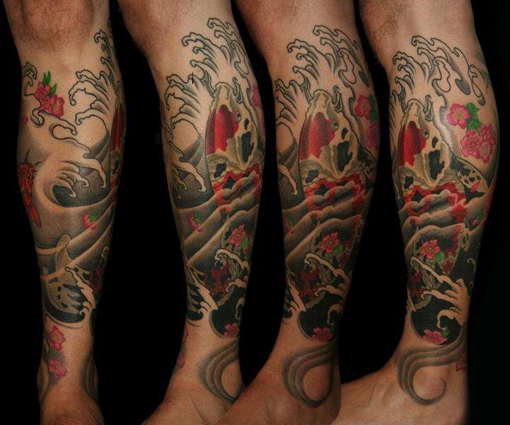 Custom Koi Leg Sleeve Tattoo
