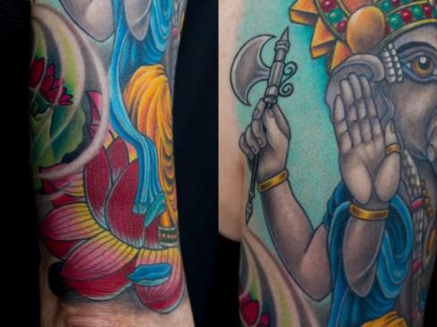 Detail of Ganesh and hybrid sugar skull tattoo