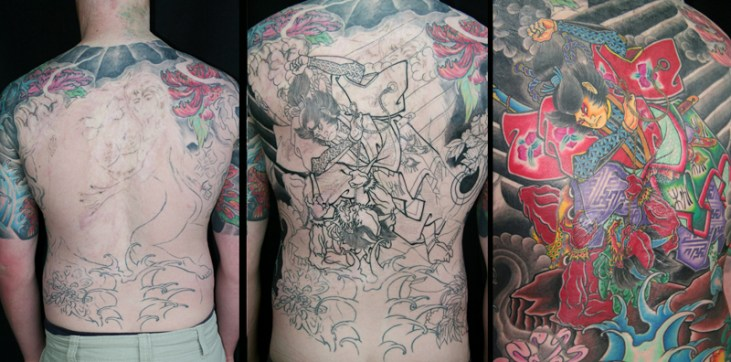 Full back Japanese warrior covering third degree burns and existing tattoo