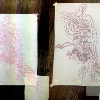Preliminary and finished freehand drawing of oriental phoenix full back tattoo