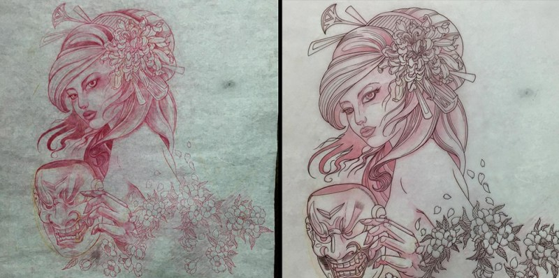 clareketontattoos_wip_geisha_chrysanthemum_freehand_sketch