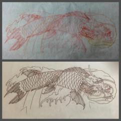 Freehand sketch and stencil of Koi dragon fish tattoo
