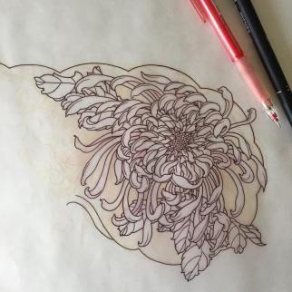 Stencil of a chrysanthemum flower