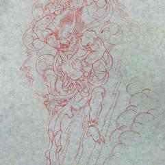 Preliminary freehand sketch of Raijin the rain god