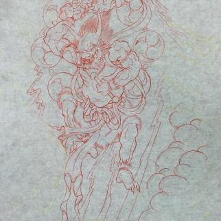 Preliminary freehand sketch of Raijin the rain god