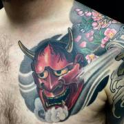 Hannyamask Chest Tattoo