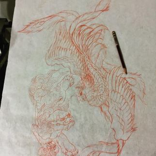 Work in Progress - Pheonix & ShiShi Sketch
