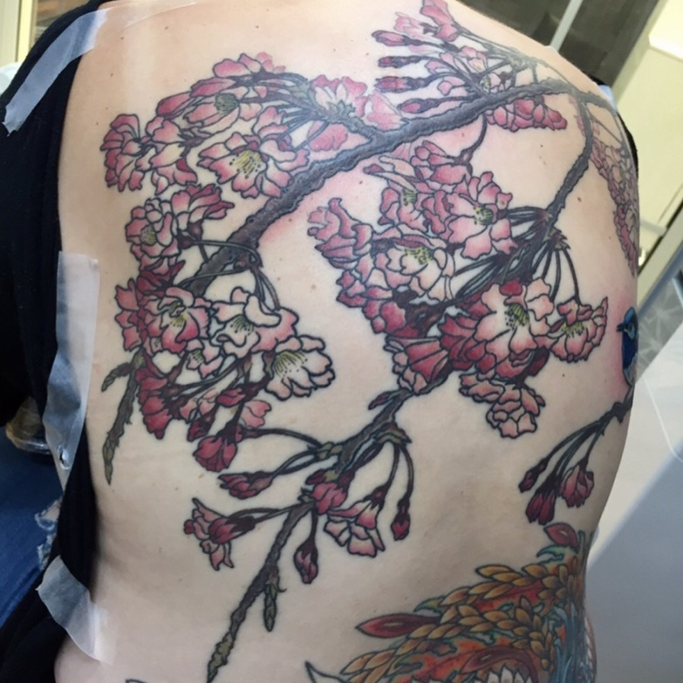 Complete Sakura Back Piece Tattoo At Bottom Not By Me