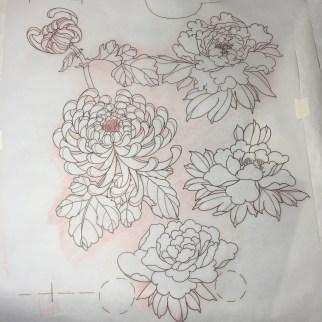 Peony & Chrysanthemum leg sleeve