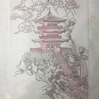 Japanese Pagoda half back piece