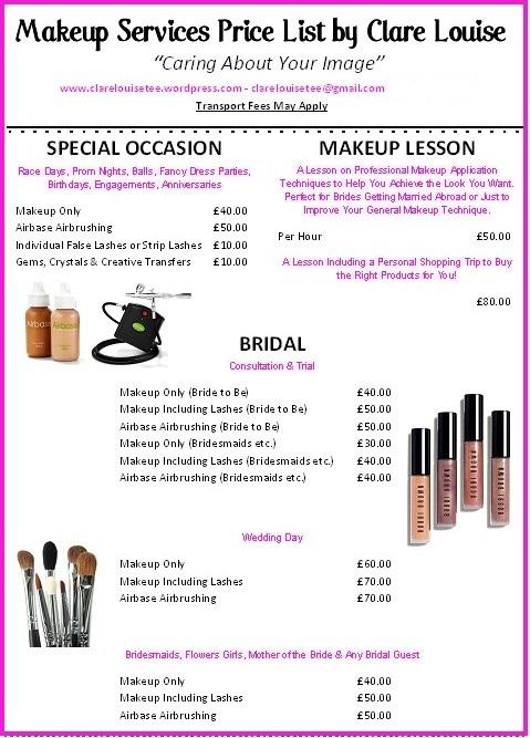 Makeup Services Price List  clarelouisetee
