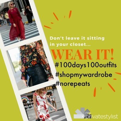 image of clothes saying wear it and hashtags 100days100outfits, shopmywardrobe, no repeats