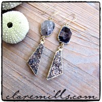 Black Obsidian Slice & Druzy Earrings