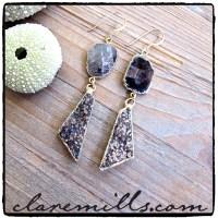 Black Obsidian Slice & Druzy Earrings - Designer Jewelry ...