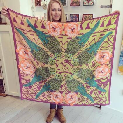 'Charlie Budgie' Crepe de Chine scarf 100cm x 100cm £70