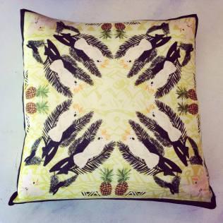 'Cockatoo' Wool Twill cushion 36cm x 36cm £35