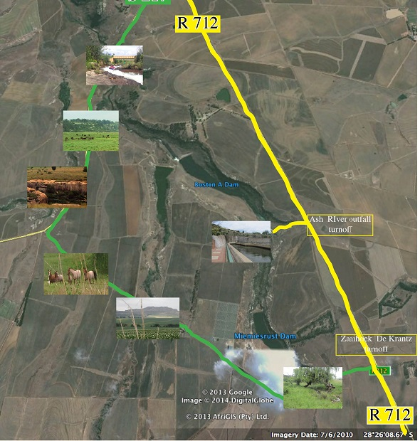 Clarens to Ash River Outfall map