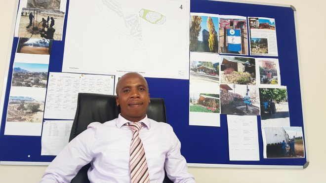 Acting Clarens Unit Manager in his office