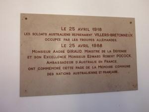 Plaque at Villers Brettoneux