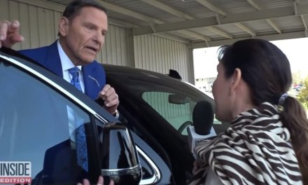 Televangelist Kenneth Copeland gets visibly angry when questioned about his private jet and his remarks about planes filled with 'demons'