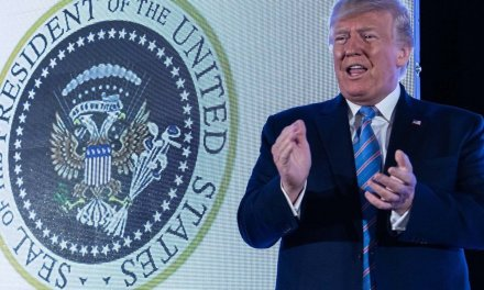President Trump spoke in front of a fake presidential seal — and someone got fired over what it said