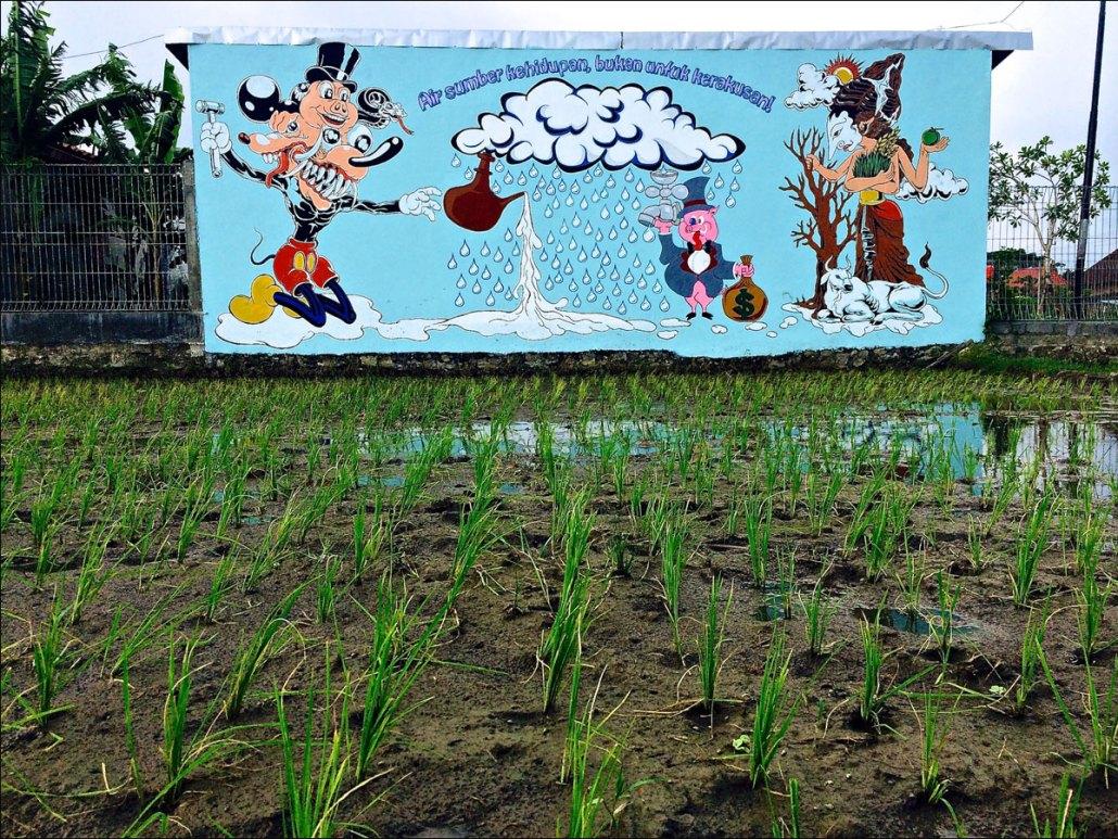 "Christopher Statton and Nano Warsono, ""Air Sumber Kehiduan, Bukan Untuk Kerakusani, "" Geneng Street Art Project #3, 2015"
