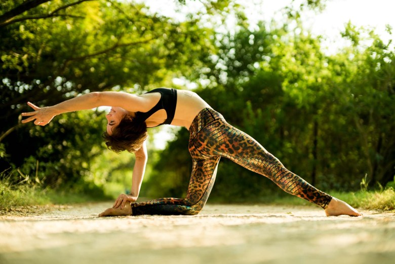 Ustrasana in Yoga Democracy Animal leggings and Choli top - image by Tiago D'Oliveira, yoga pose