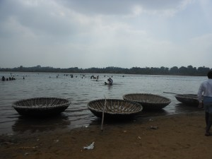 Coracles on the banks of the Kaveri River at Talakad