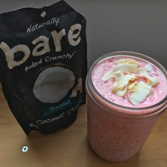 Berry smoothie with Bare Snacks coconut chips