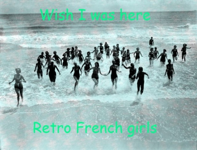 French females running on the beach