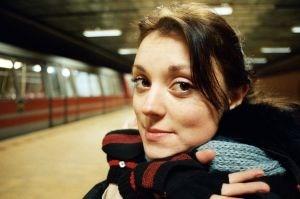 Beautiful girl in Bucharest train station