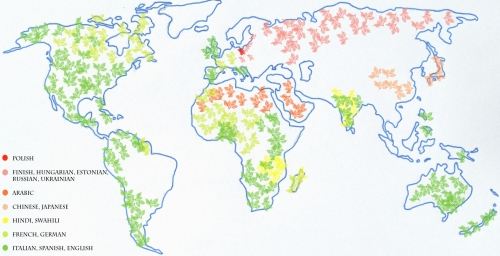map of difficult languages on earth